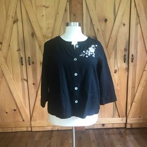 Black linen blend jacket with embroidery